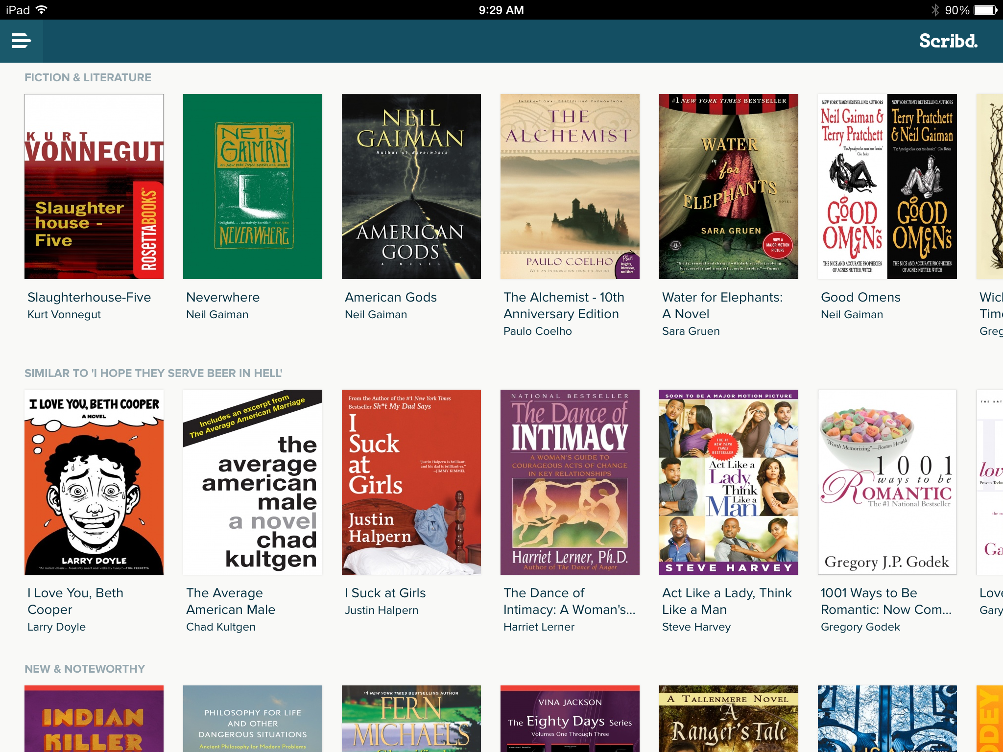 A table of carousels in Scribd