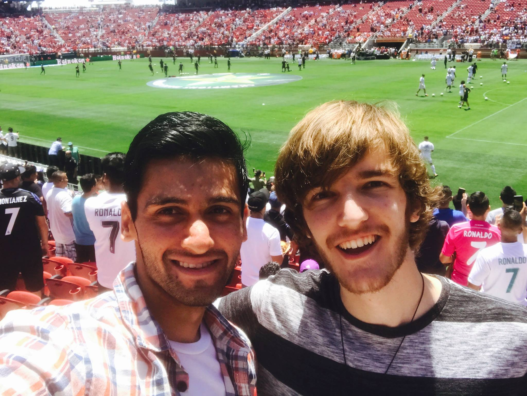 Sanket and I at the ManU <> Real Madrid game!