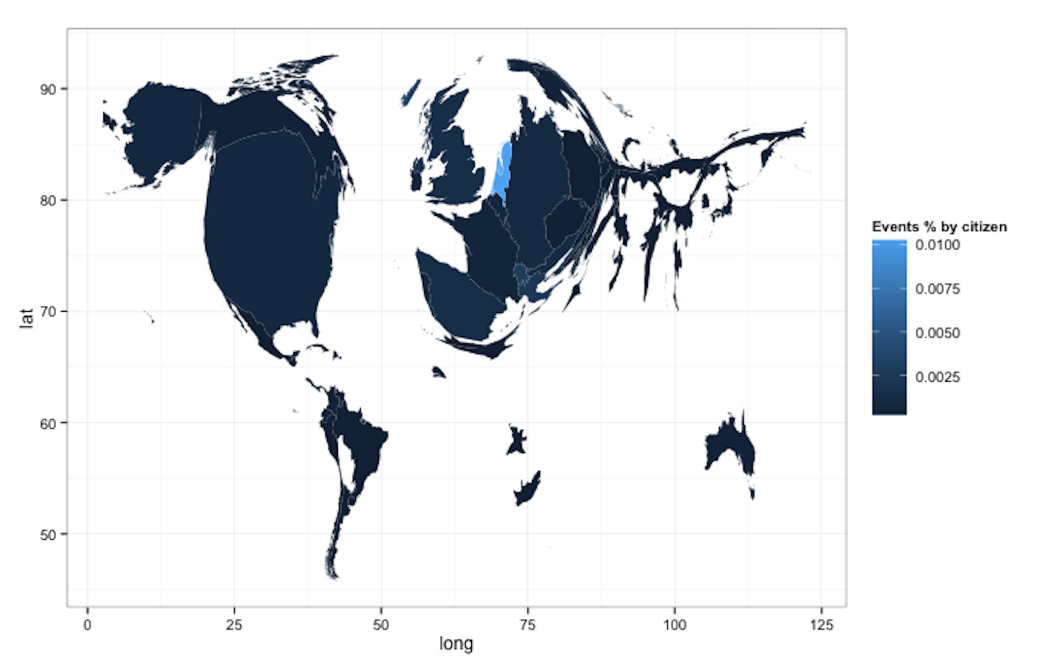 **Figure 8:** Cartogram of countries by normalised number of events by countries populations.