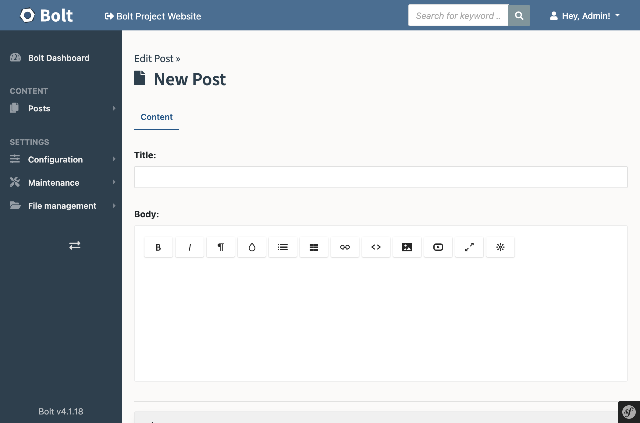 Creating a new Post in the Bolt Editor