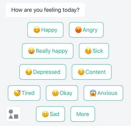 Woebot asking a user about their mood, with multiple answer choices