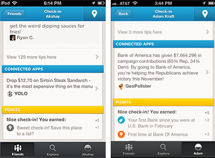 Foursquare app screenshots