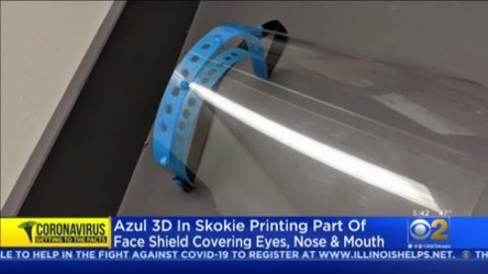 CBS Chicago Covers Azul 3D on Face Shield 3D Printing
