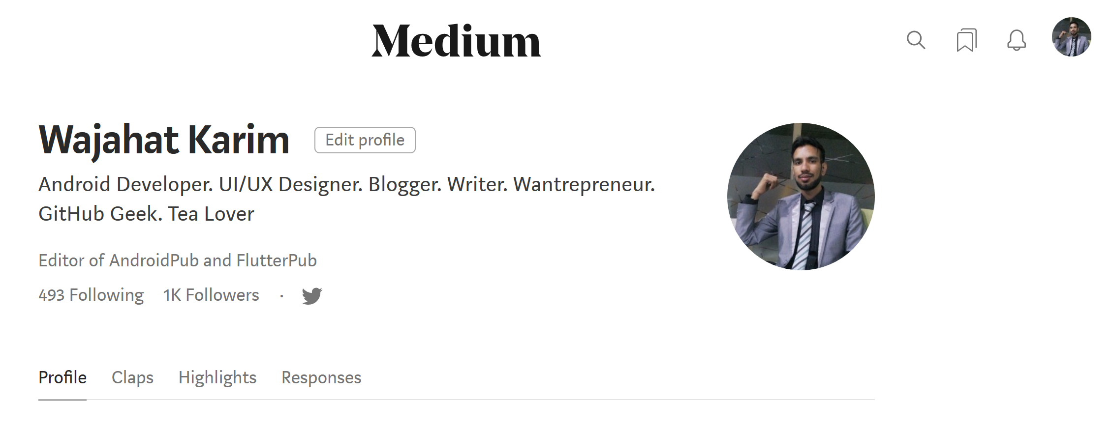 Yay! It shows **1K Followers **on [my profile](https://medium.com/@wajahatkarim3)