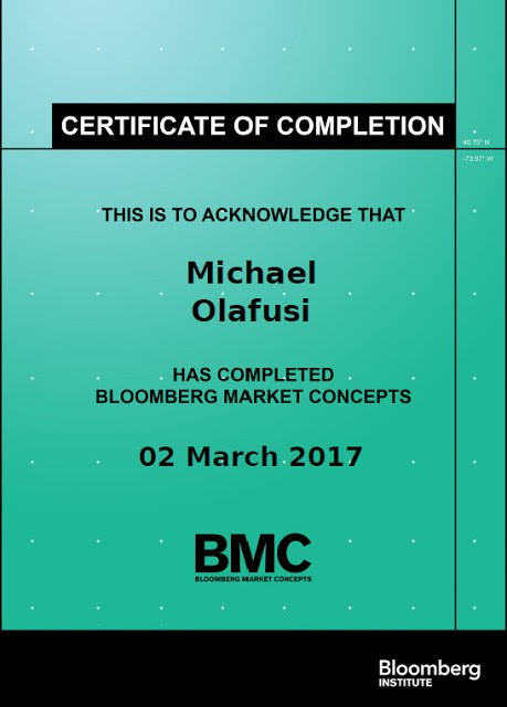 Bloomberg Market Concept: Completed The Training And Got The Certificate