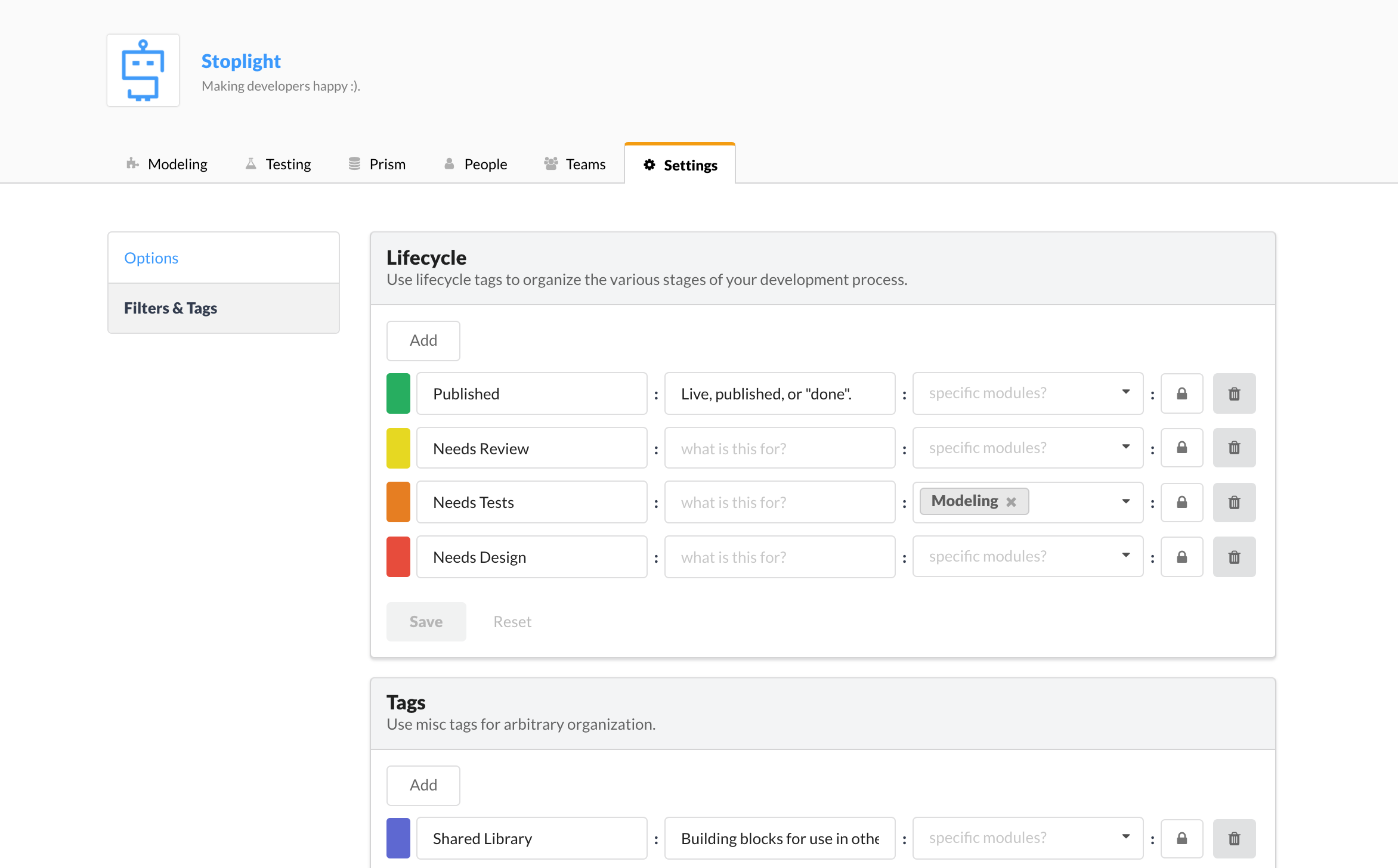 Manage tags on your organization settings page.