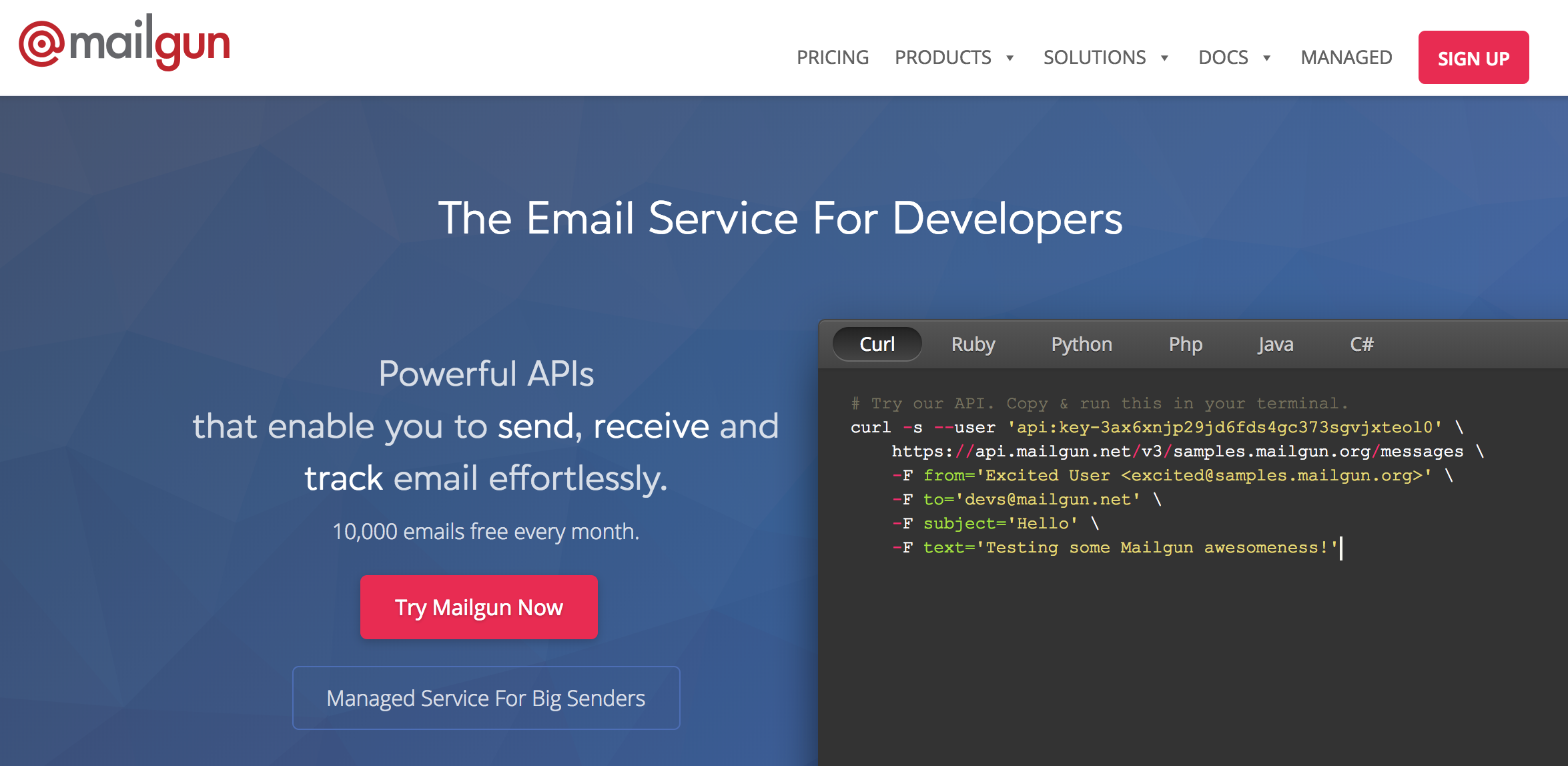 Mailgun integrates with default Laravel applications