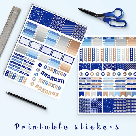 Blue And Silver Planner Stickers