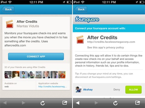 Foursquare mobile app connector with After Credits app