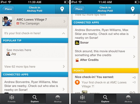 After Credits app connected with Foursquare