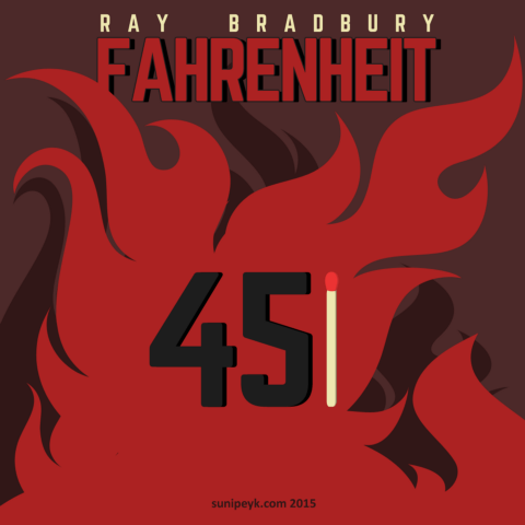 Fahrenheit 451 flat poster, book cover F451_2015