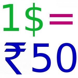 1 US Dollar = 50 Indian Rupees