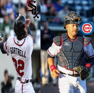 Stephen Gartrell (left) slugs home run, while J.C. Boscan (right) walks off the field.