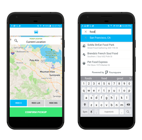 screenshot of RideUp mobile app powered by Foursquare
