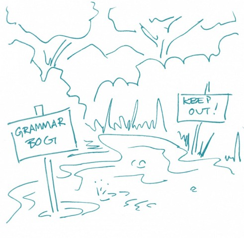 """Illustration of a bog with signs saying """"Grammar Bog"""" and """"Keep Out!"""""""