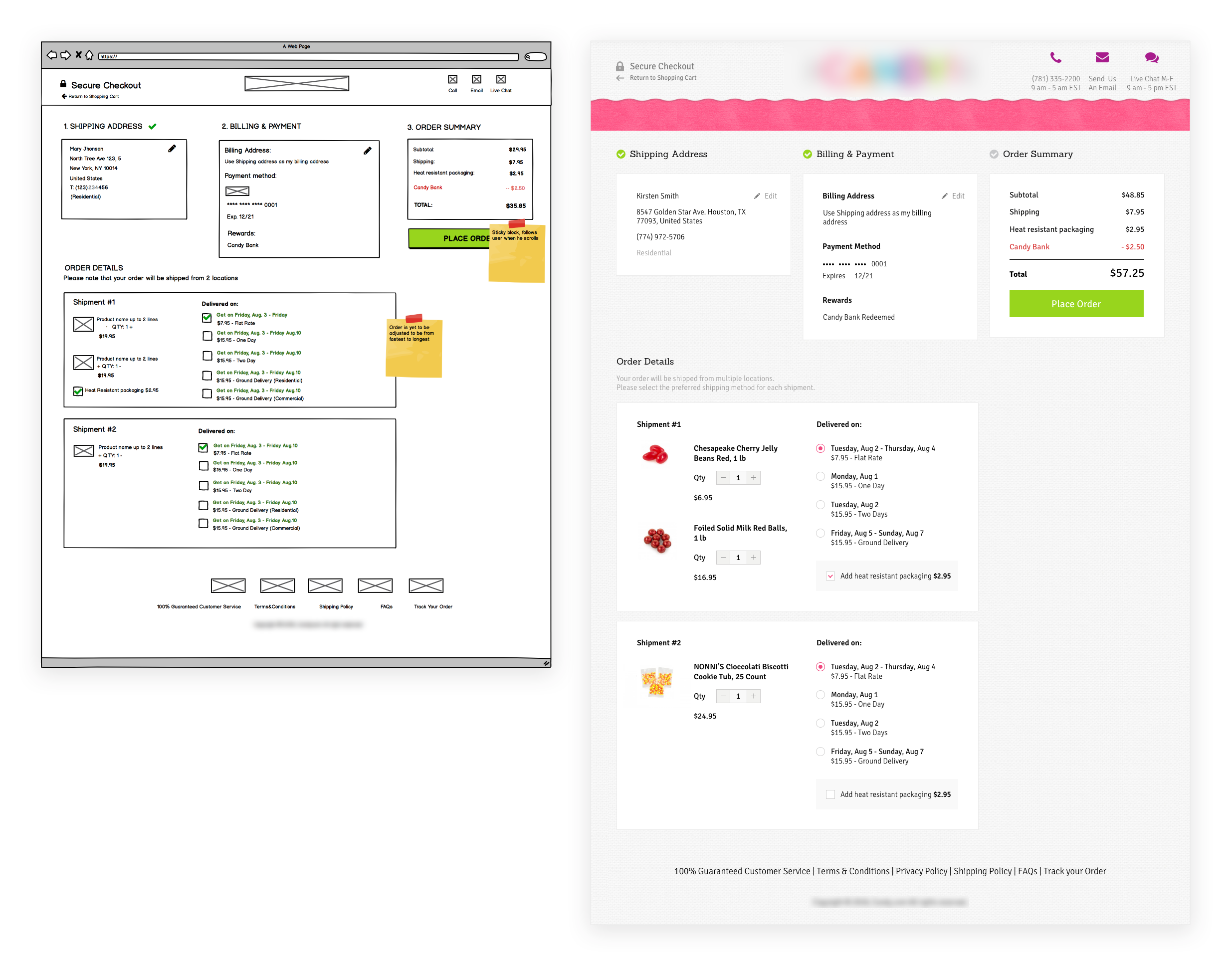 One-page checkout wireframing | Checkout Redesign & Optimization Case Study