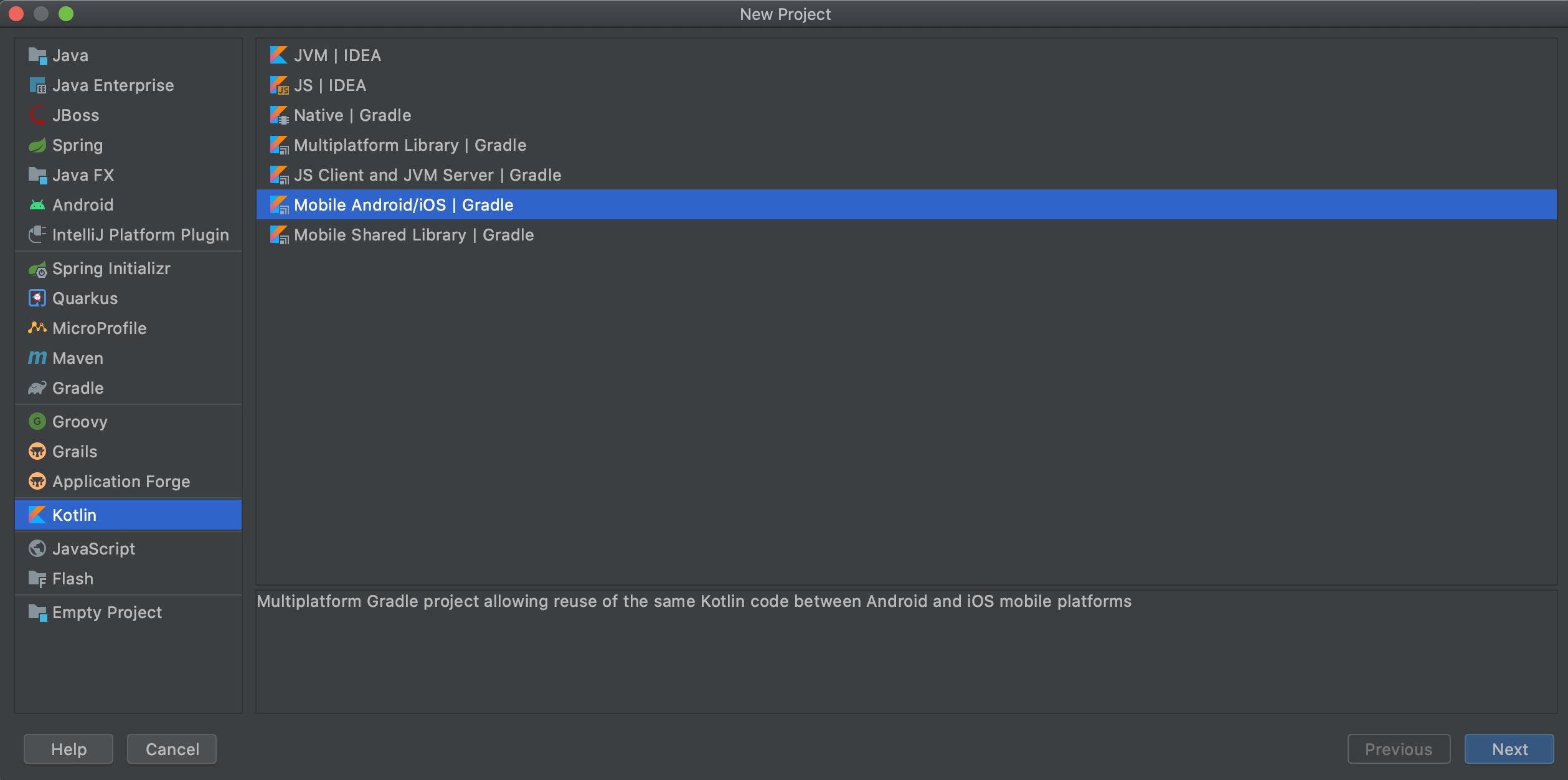 Create a new android/ iOS project on IntelliJ