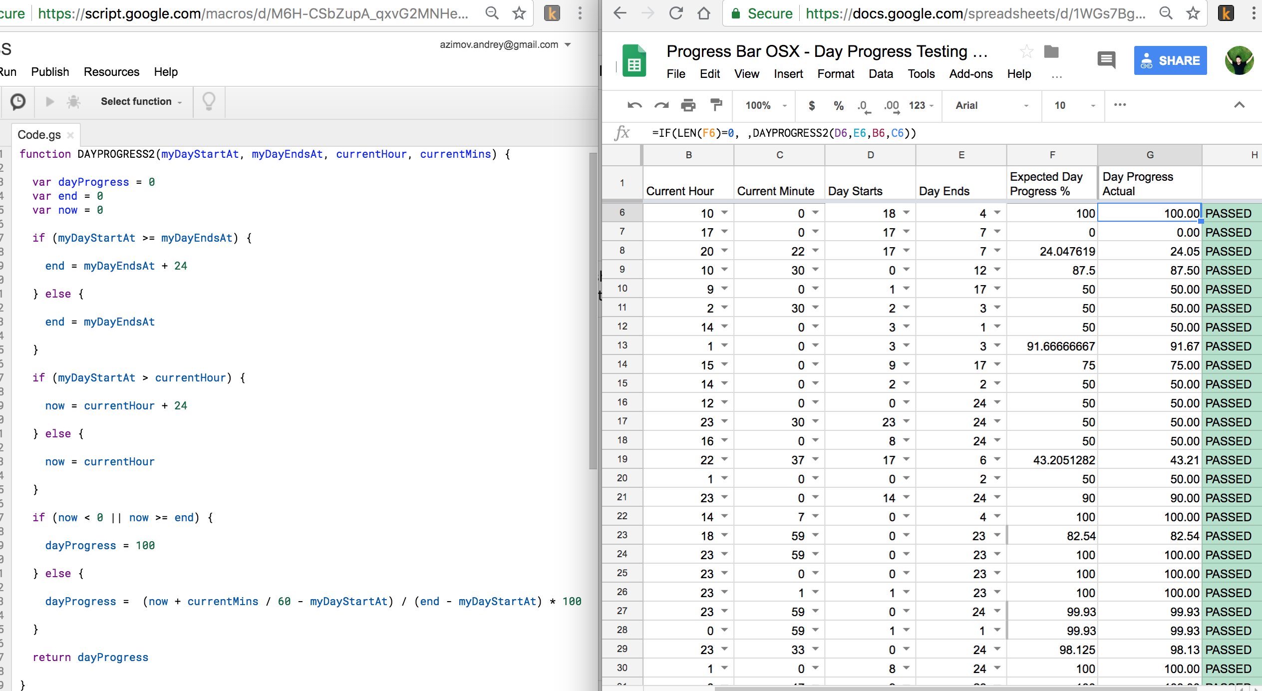 Unit testing with Google Sheets :)