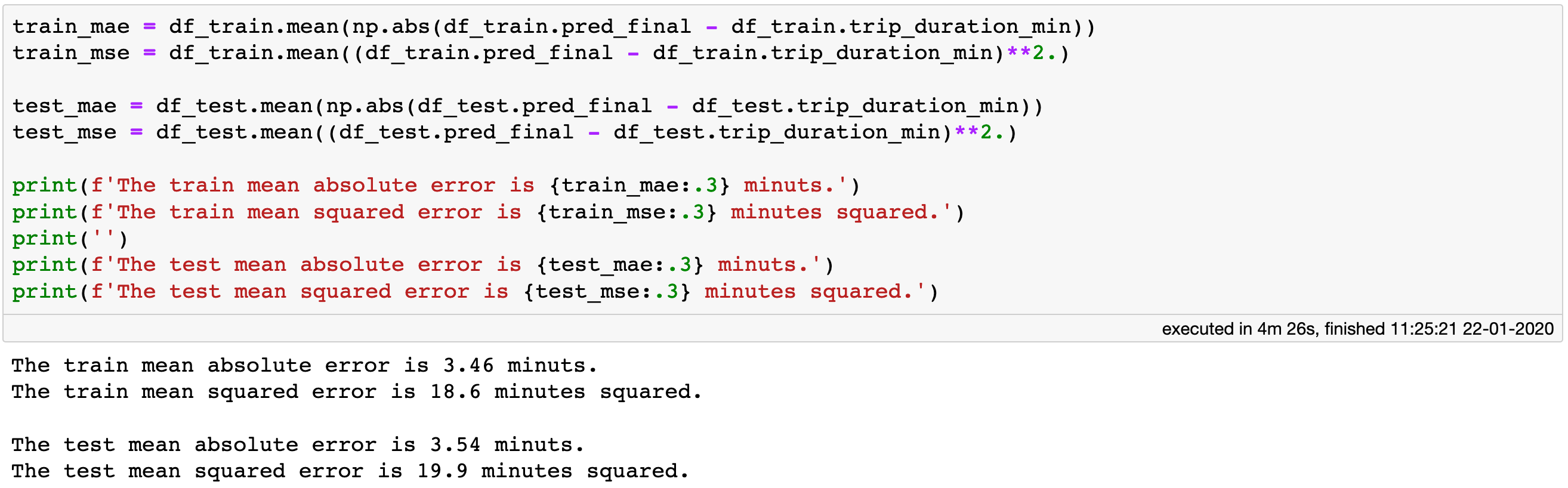 Computing the absolute and mean square errors for both the train and the test sets.