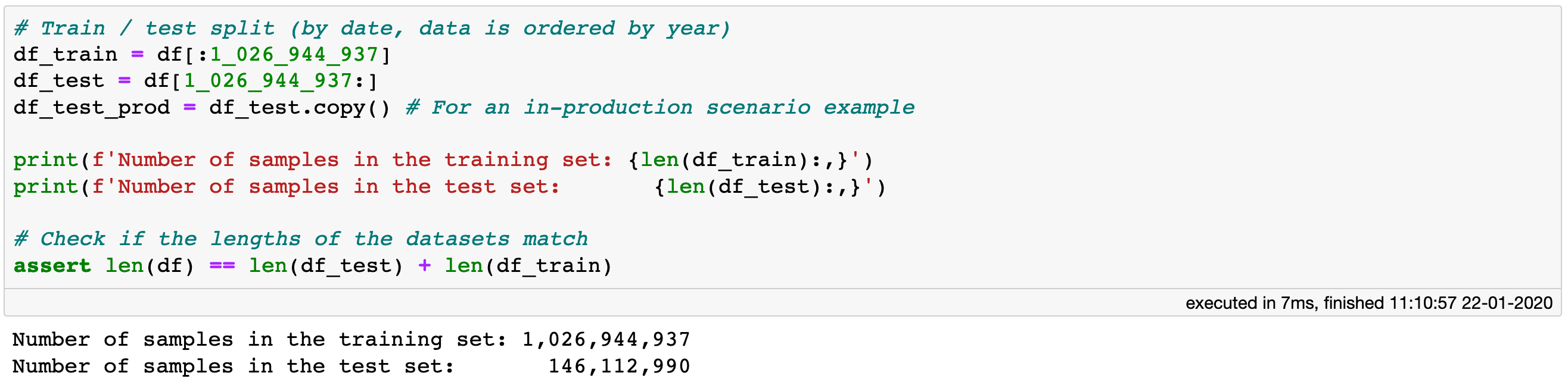 Create train and test sets. Slicing of a Vaex DataFrame does not copy the data, but only creates a reference.