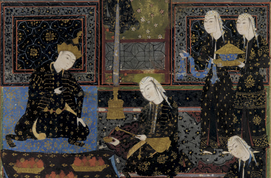Sasanian influence is still strong in this painting of King Bahram V Gor, from the mid-16th-century Safavid era