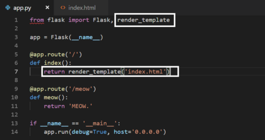 Use the new index.html file and render it using app.py