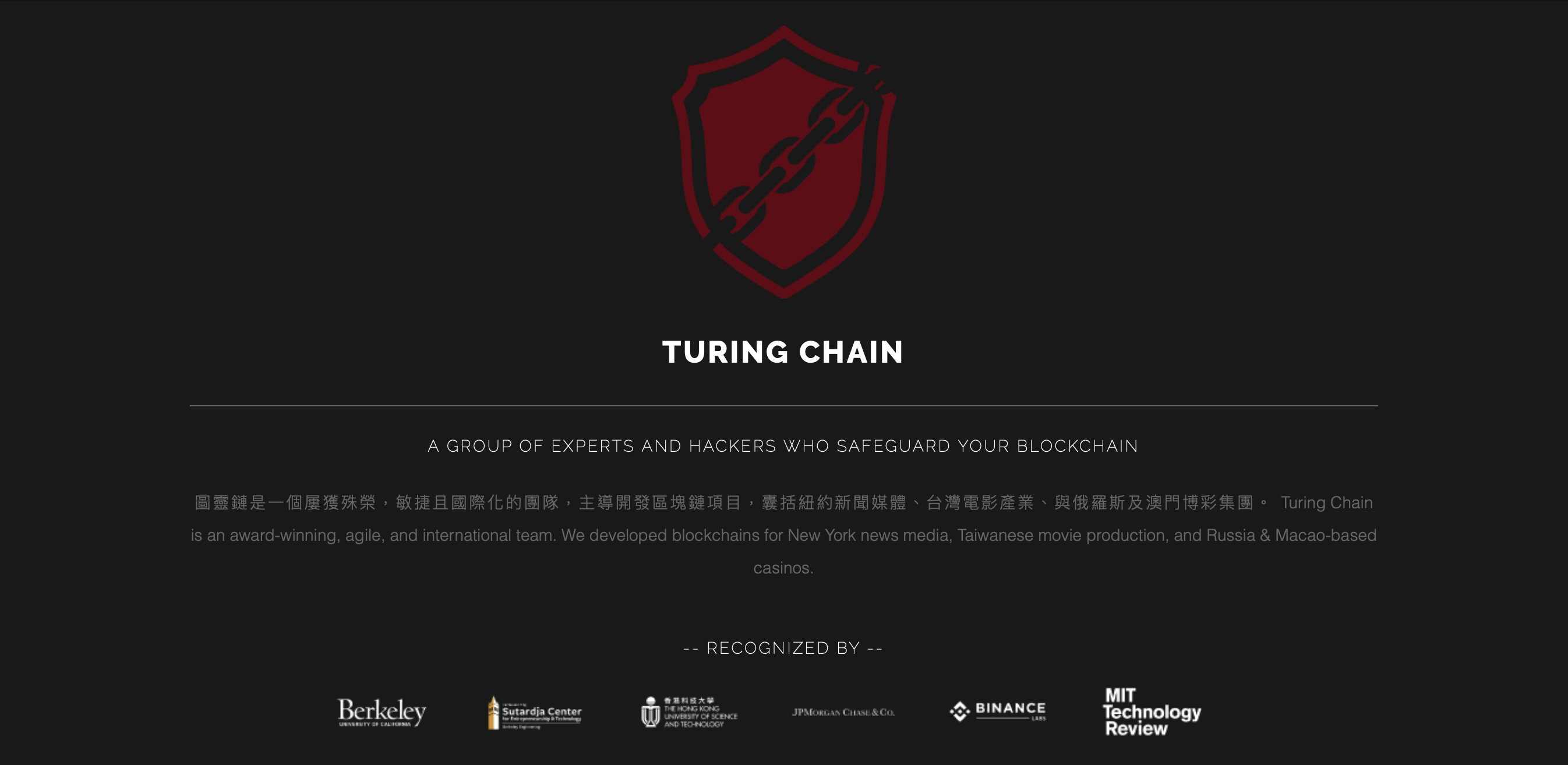 Turing Chain 圖靈鏈科技: https://turingchain.tech