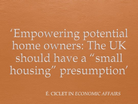 Small Houses: A bottom-up approach to the British housing crisis. Comments on my essay