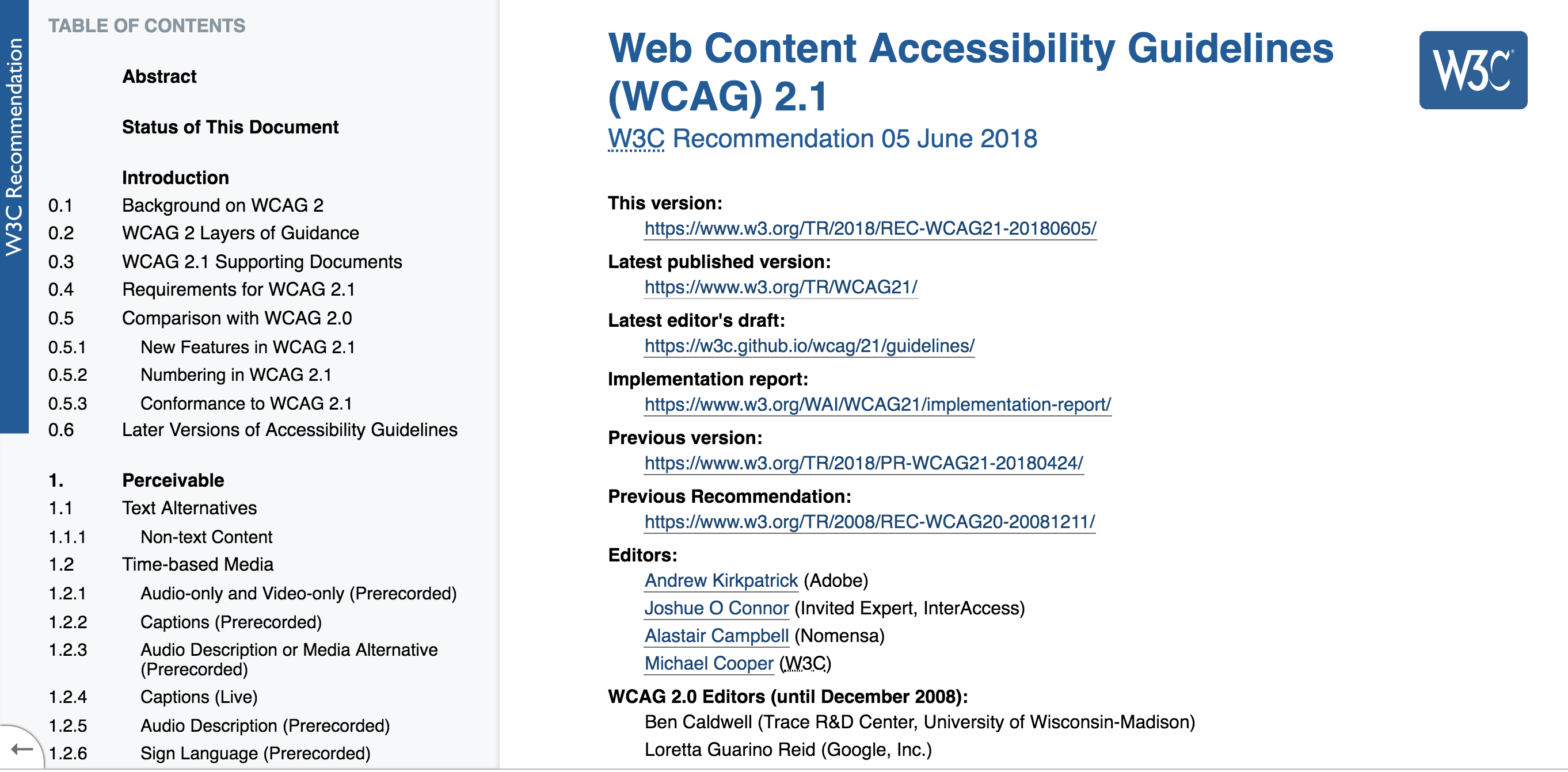 The Web Content Accessibility Guidelines (WCAG 2.1) web standard home page