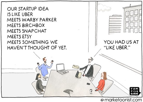 A cartoon by marketoonist with a funny take on startup ideas.