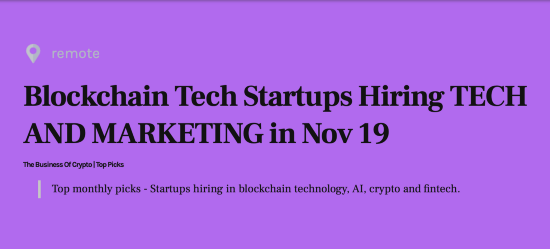 Who's Hiring in Blockchain tech
