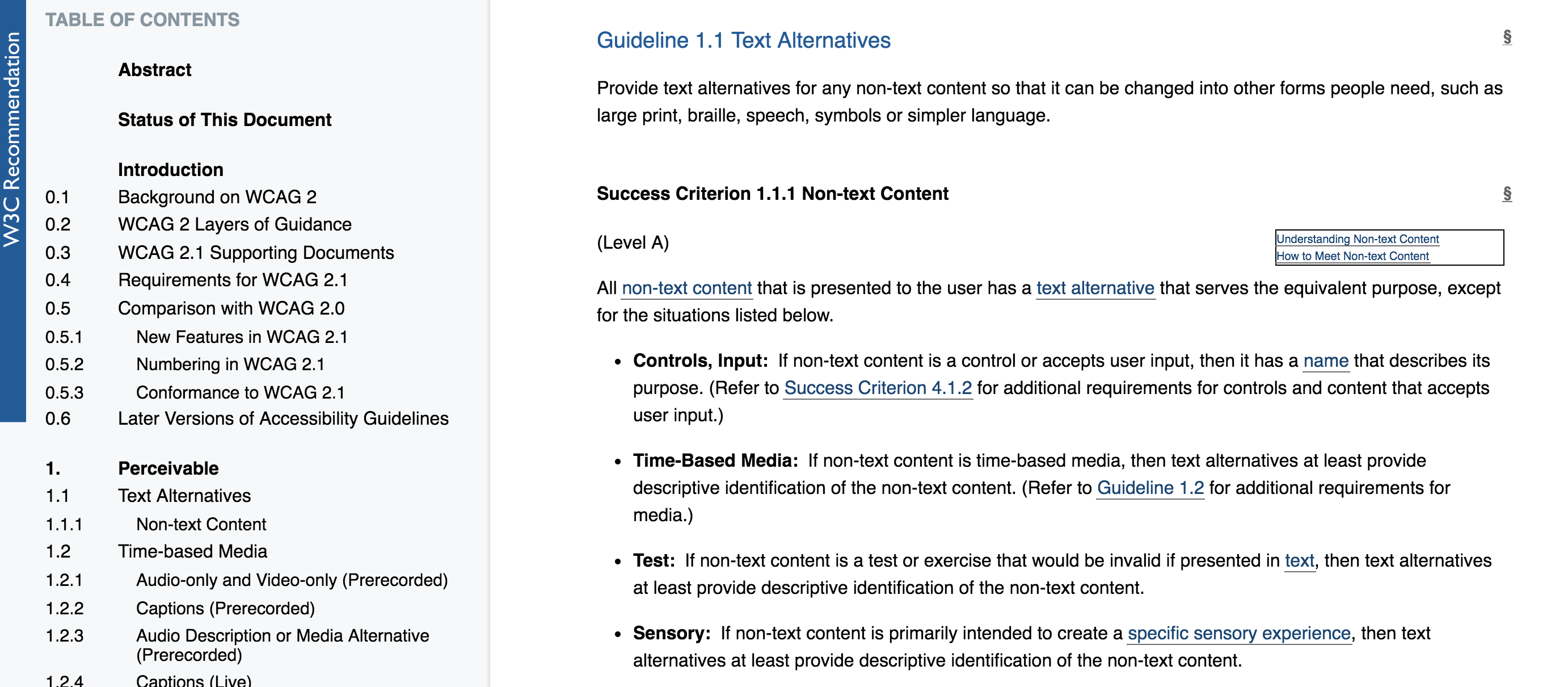 WCAG 2.1 Guideline on Text Alternatives, in amongst the text are links to success criterions and other useful guidelines