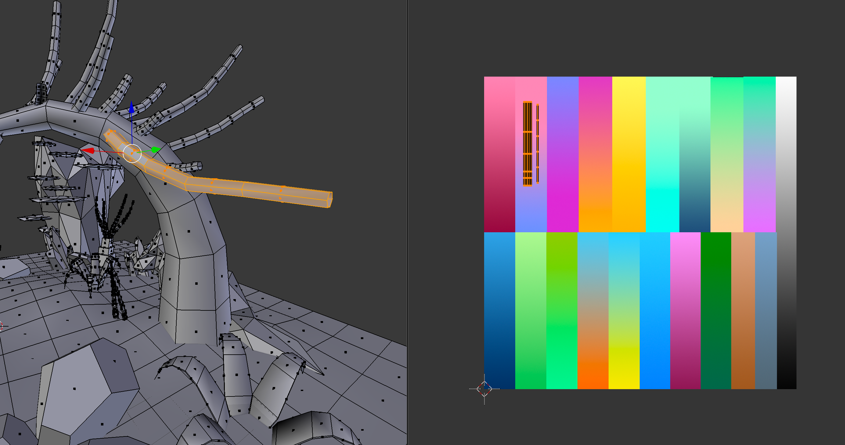 Using Blender to map textures to the models.