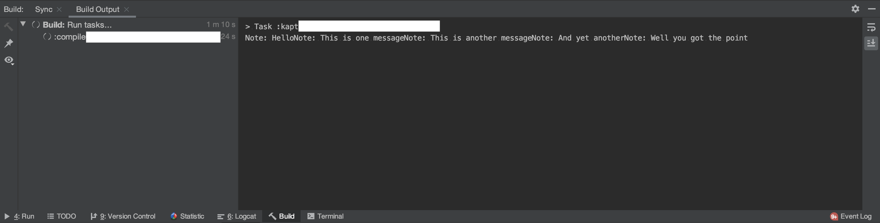 Build view on Android Studio (multiple printMessage() single lined)