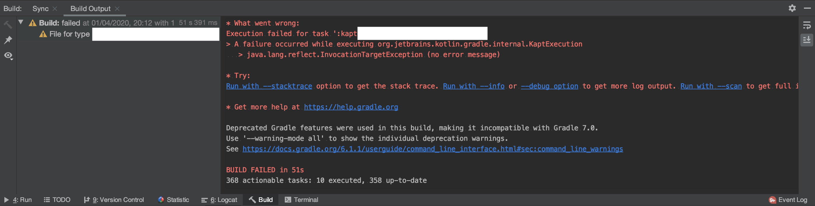 Build view on Android Studio (Kind == ERROR)