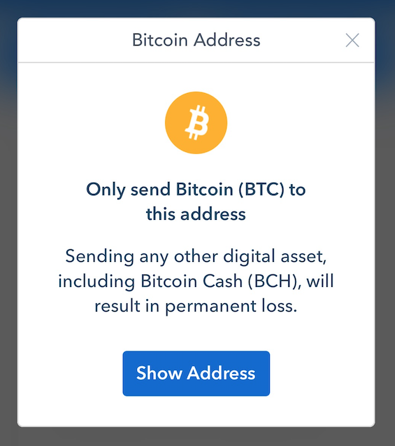 Coinbase product update february 13 2018 the coinbase blog to help protect customers from accidentally sending funds we will be adding the below screens to all of our bitcoin receive flows ccuart Images