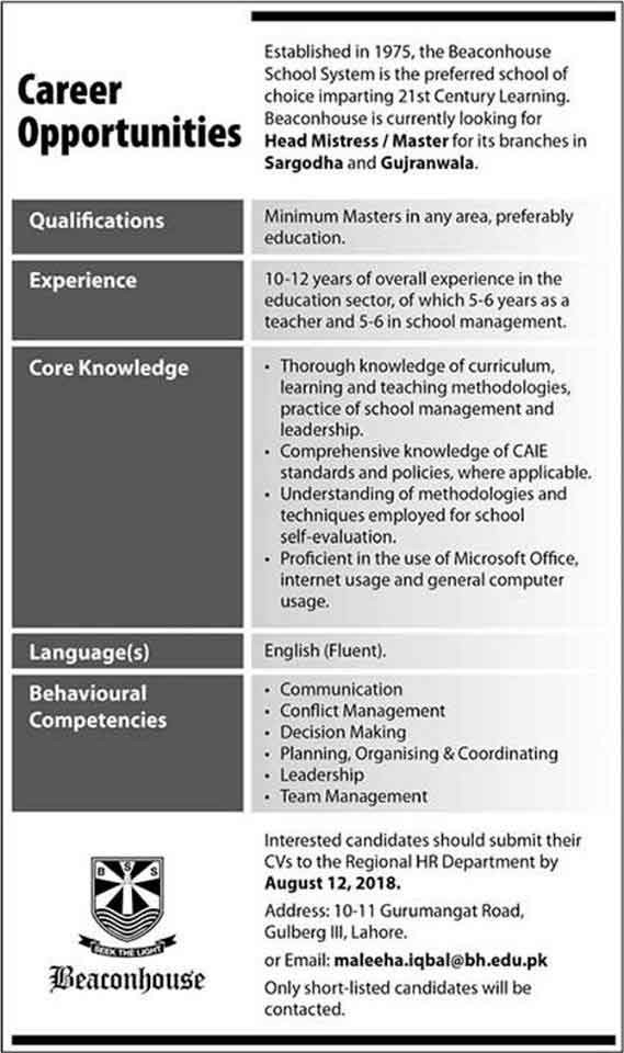 beaconhouse school jobs in multiple cities pakistanjobsalert medium