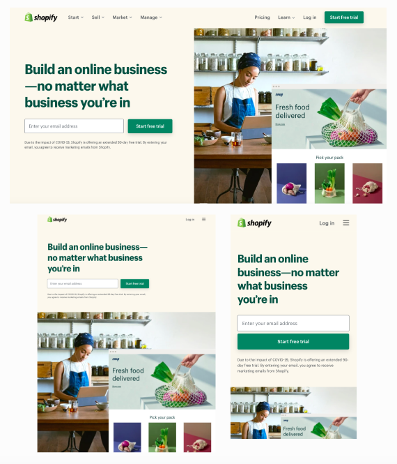 Shopify website adapts to all devices (desktop, tablet, and mobile).