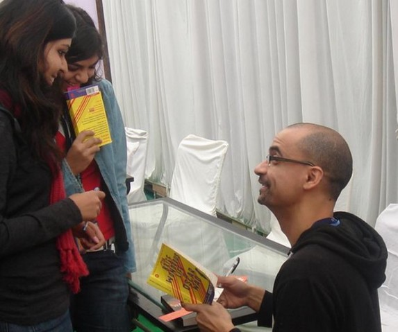 Junot Diaz signing at the Jaipur Literature Festival