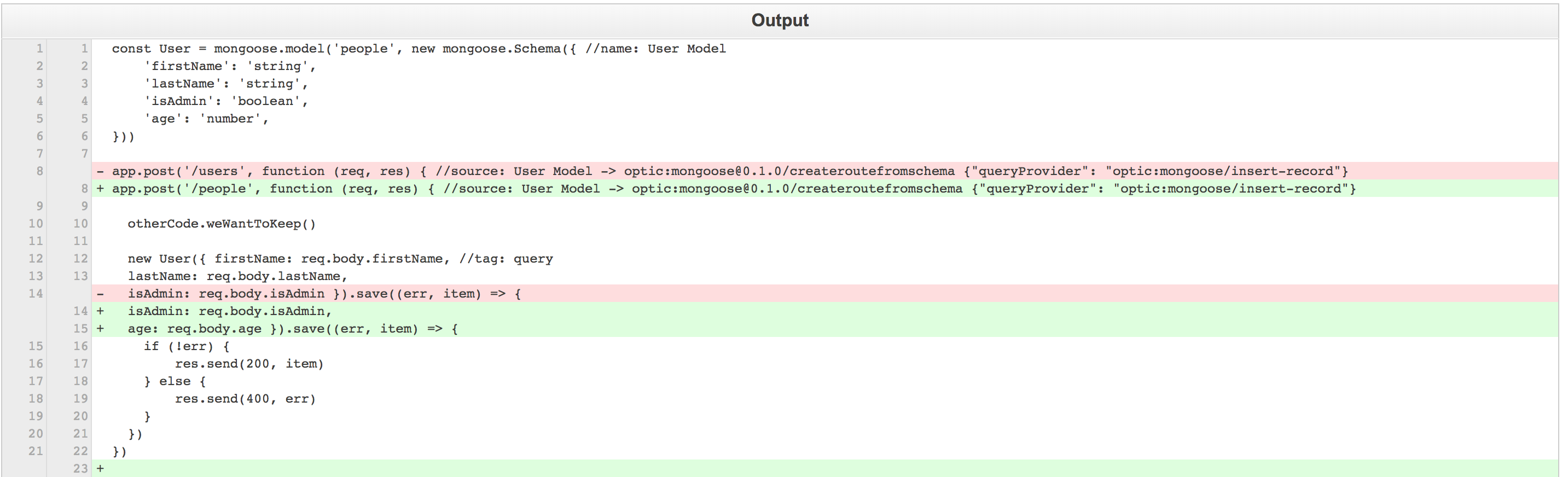 Here's a look at the Pull Request Optic generated for this file after you changed the model