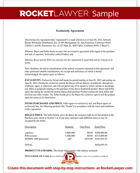 Exclusive Supply Contract Actual Legal Document Manufacturing