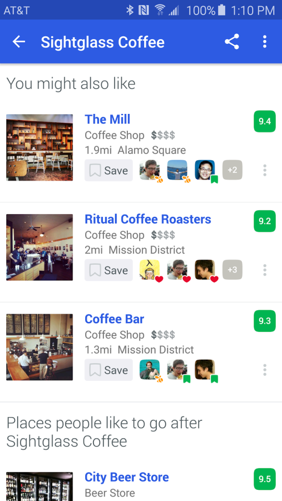 screenshot of Foursquare City Guide recommendation