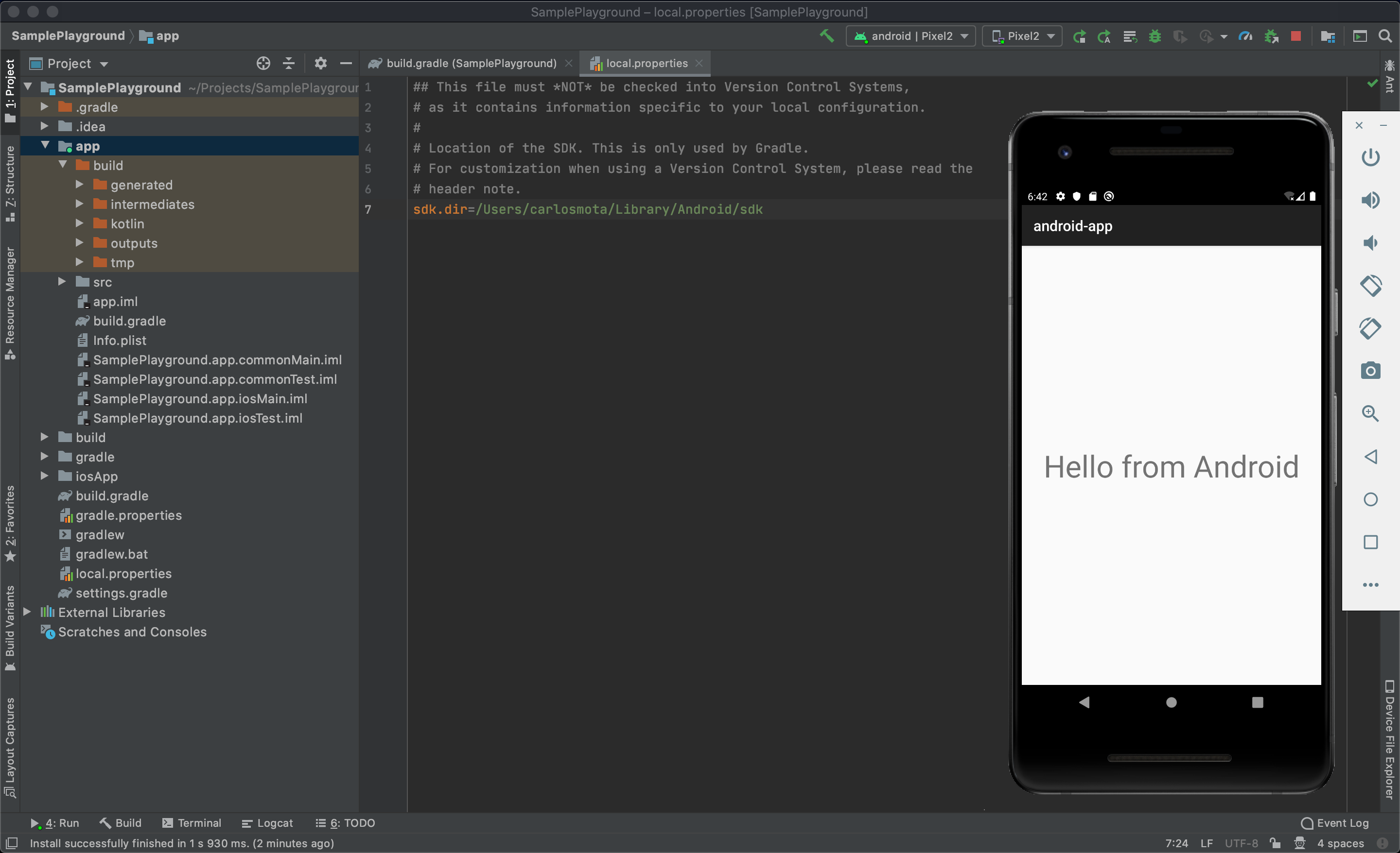 Sample app running on the Android emulator