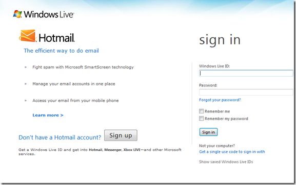 In Hotmail Sign Up English Page