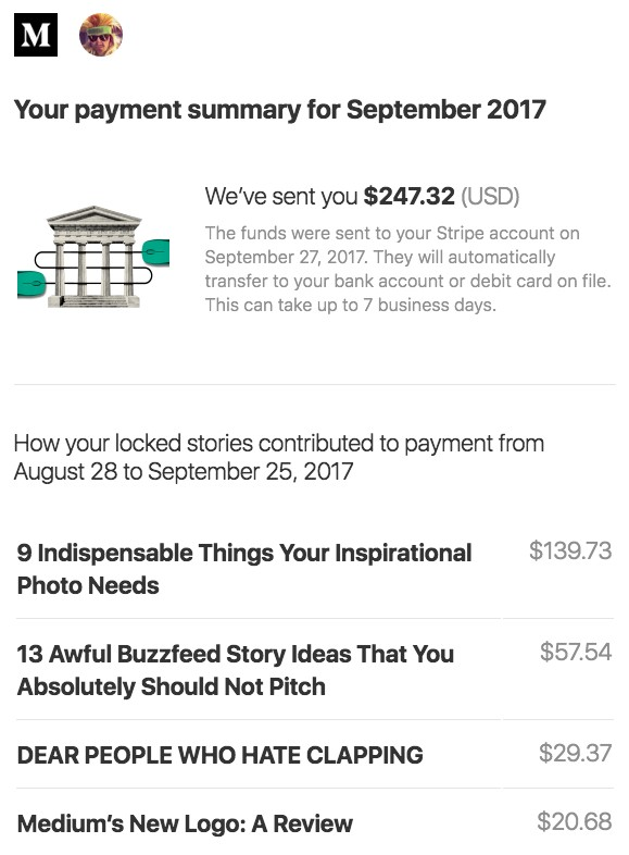 "a % transparent look at my first paycheck see that ""how your locked stories contributed"" part if and when you become a paid writer you ll have a couple options before you publish"