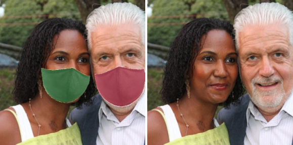 Picture depicting a male and a female person with and without mask augmenation.