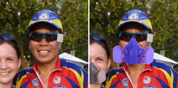 Original and altered photo using AI software to apply face masks.