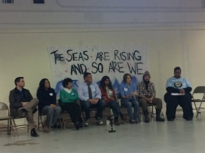 members of the united houma nation sat on a panel at the bayou rising event in december credit kira lerner agency office literally disappears hours