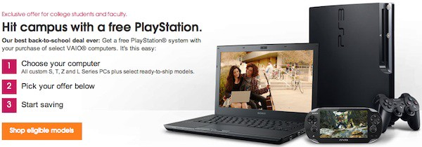 Sony Offers Free PS3 or PS Vita with Purchase of VAIO Computer