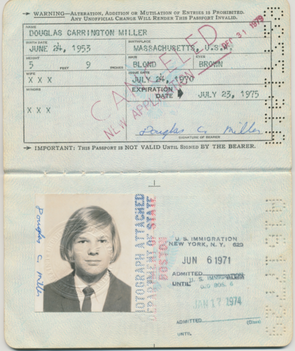 Douglas' cancelled passport from 1979